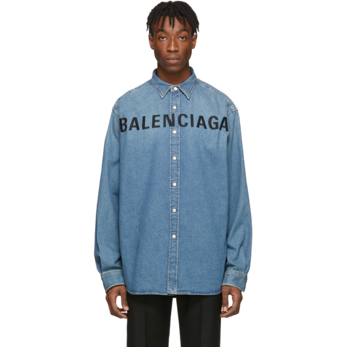 Balenciaga インディゴ デニム ロゴ シャツ