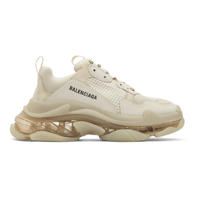 Balenciaga Triple S Ecru Mesh And Nubuck Sneakers In 9005 Offwht