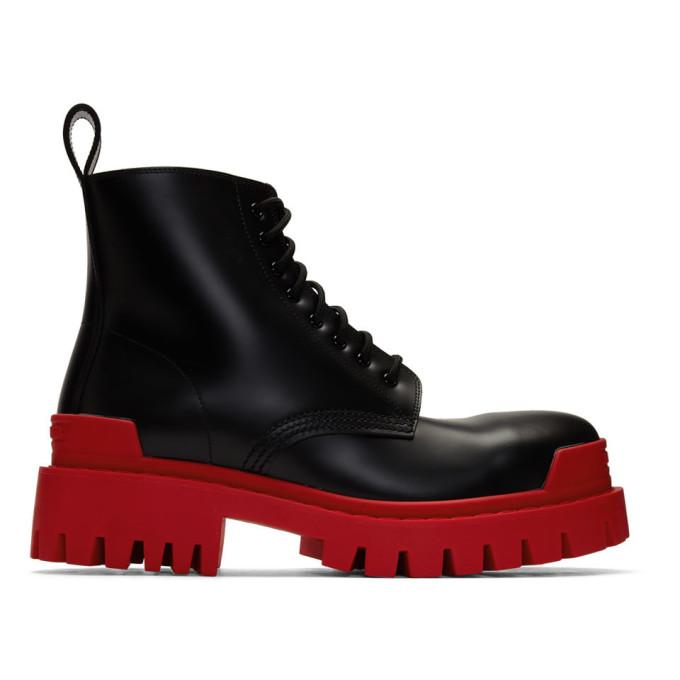 Balenciaga Black and Red Strike Boots