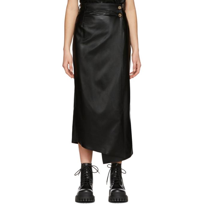 Aeron Jupe portefeuille en cuir synthetique noire Lucilla