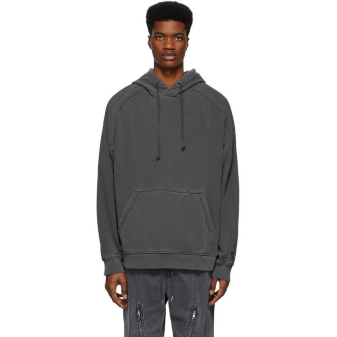 Juun.J Pull a capuche et logo en jersey bouclette gris