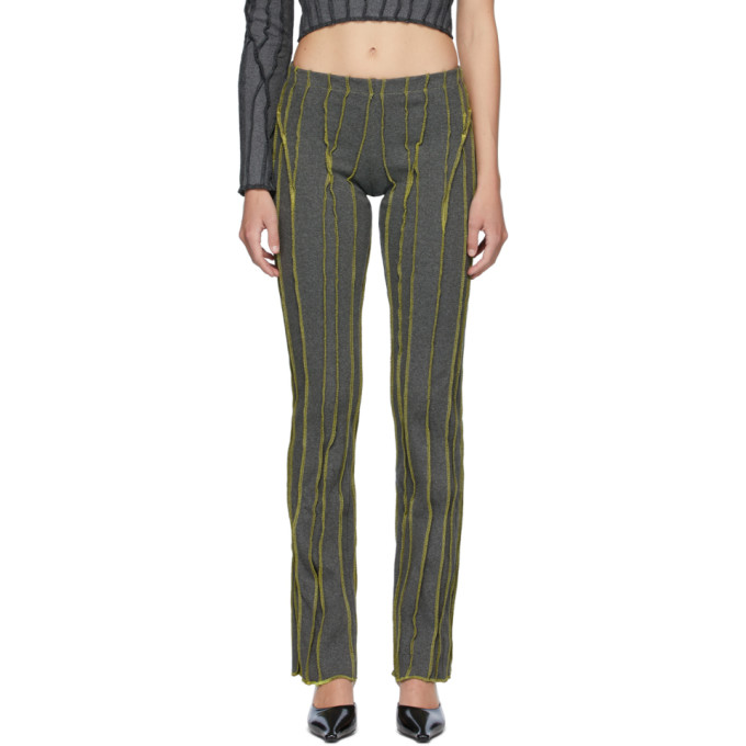 Helenamanzano Pantalon de survetement vert et gris 3D Stripe exclusif a SSENSE