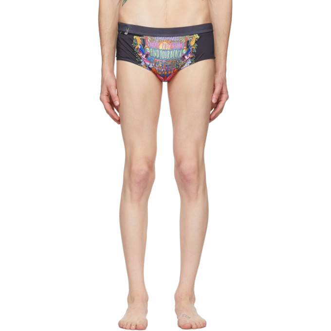 Neil Barrett Maillot de bain multicolore Art Collage