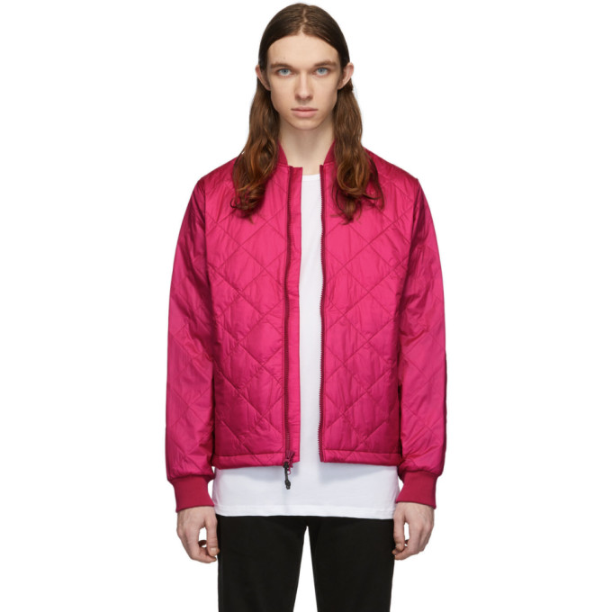The Very Warm Pink Quilted Bomber Jacket In Fuschia