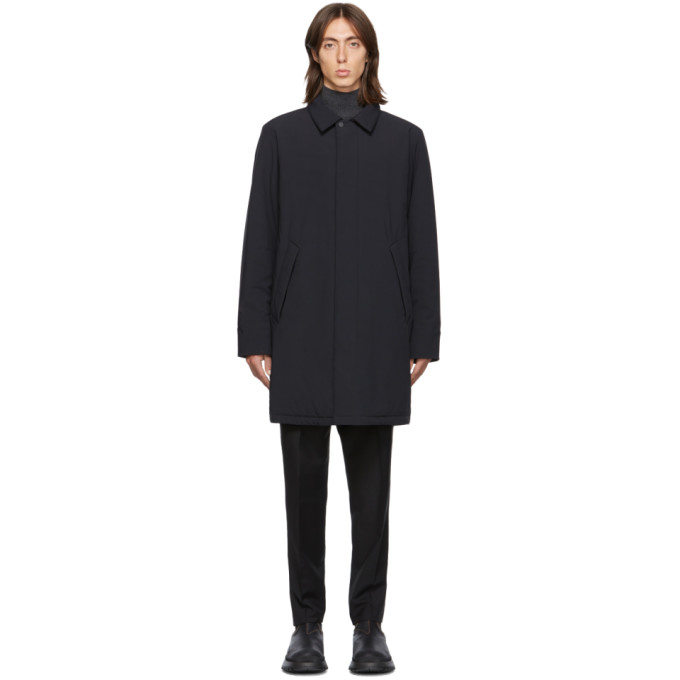 The Very Warm Ssense Exclusive Black Shell Filled Mac Coat