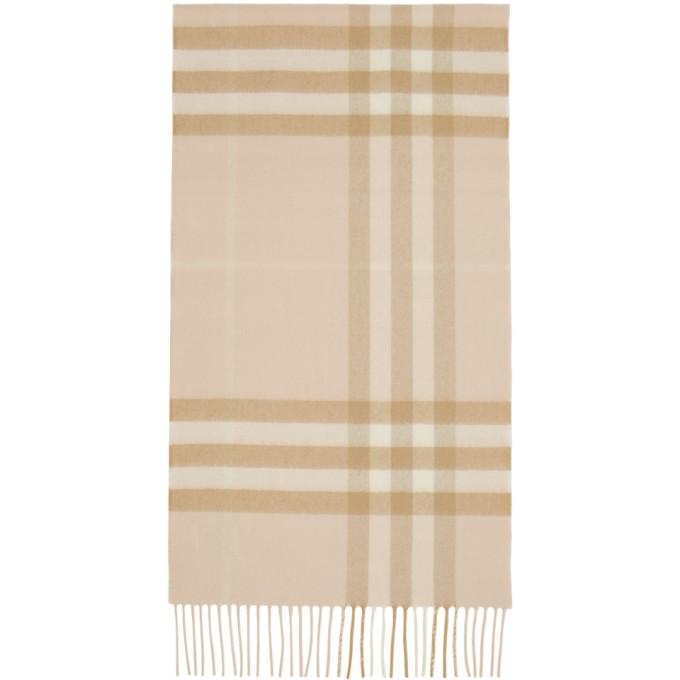 Burberry Foulard en cachemire brun clair Giant Check