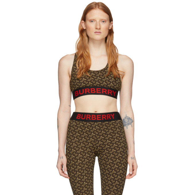 Burberry Monogram Print Stretch Jersey Cropped Top In Bridle Brown