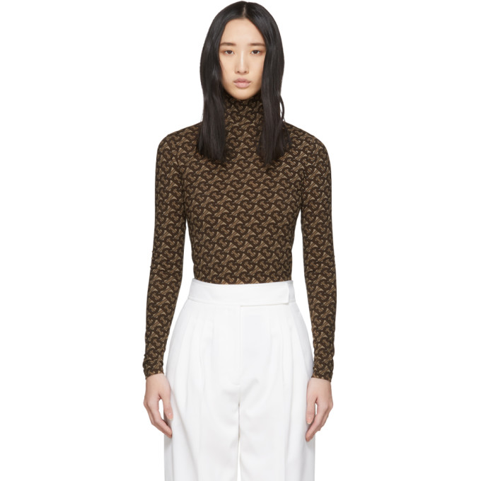 Burberry Brown Women's Trancura Print Turtleneck In Bridle Brow