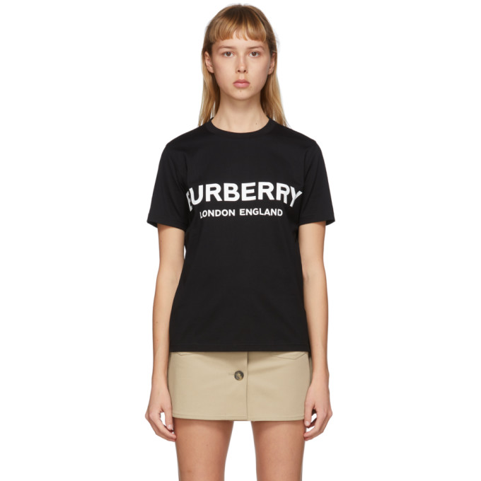 Burberry Printed Cotton-jersey T-shirt In Black