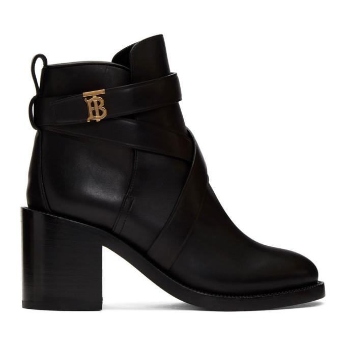 Buy Burberry Black Leather Monogram Pryle Boots online