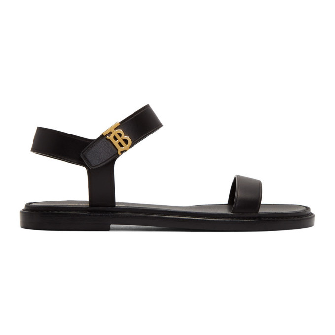 Buy Burberry Black Renshaw Flat Sandals online