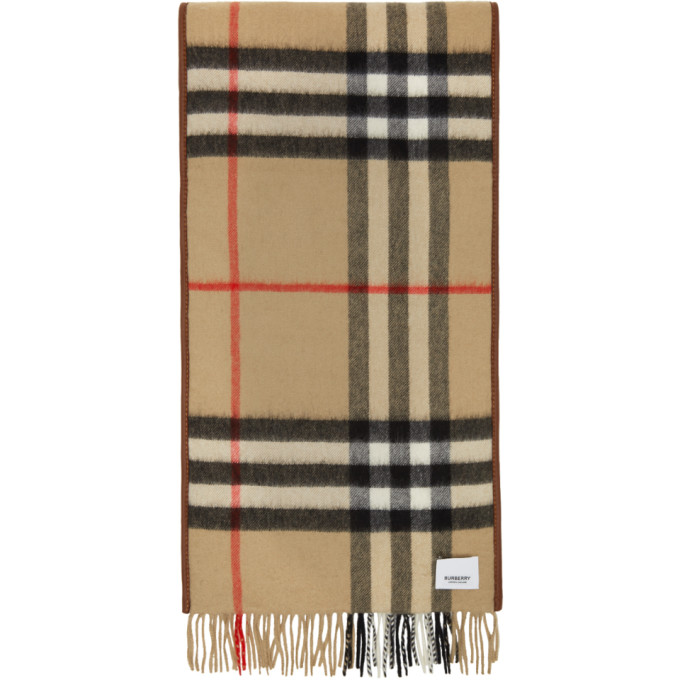 Burberry The Mini Classic Vintage Check Cashmere Scarf In Dark Camel