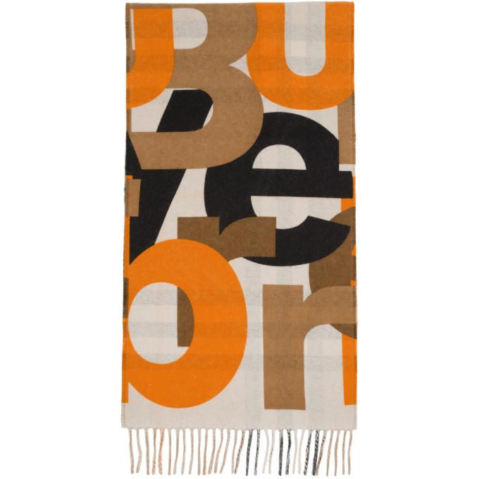 Burberry ベージュ チェック ロゴ マフラー