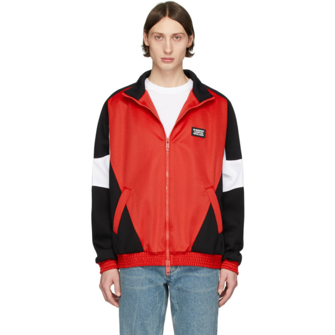 Burberry Felpa Color-block In Jersey Tecnico E Neoprene In Red