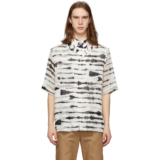 Burberry Short-sleeve Silk Overlay Watercolor Print Shirt In Monochrome