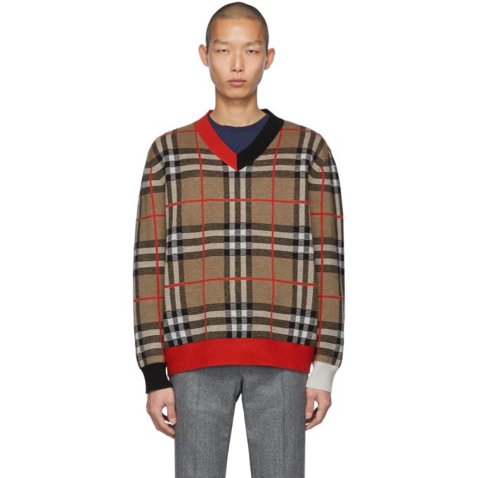 Burberry Duggan Check-jacquard Merino-wool Sweater In 大地色