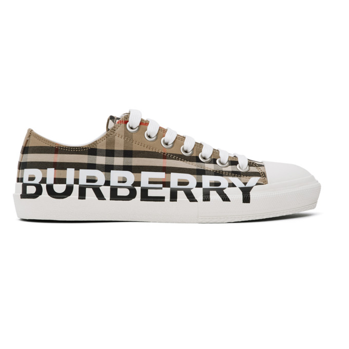Burberry Larkhall Checked Cotton-gabardine Low-top Trainers In Neutrals