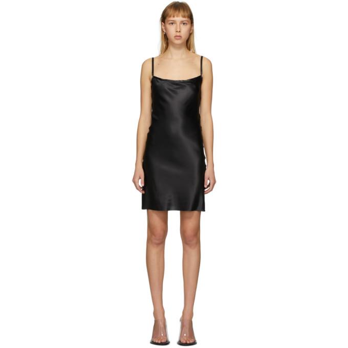 Ann Demeulemeester Fond de robe en soie noir Bleary