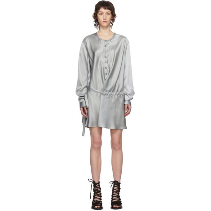 Ann Demeulemeester Robe chemise en soie a ceinture grise exclusive a SSENSE