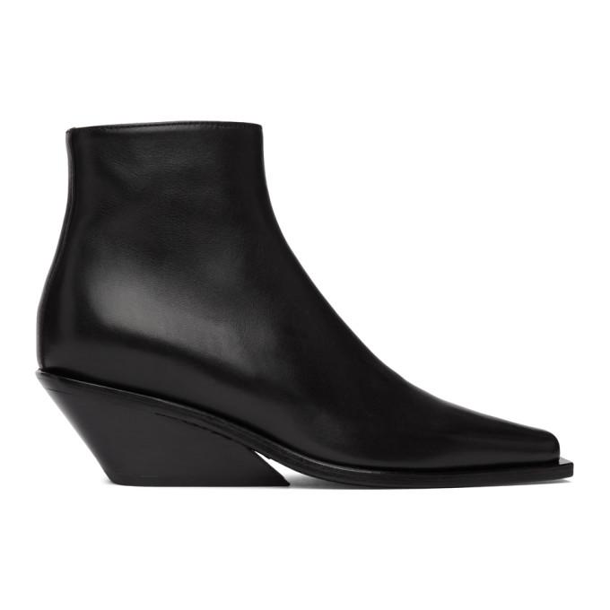 Buy Ann Demeulemeester Black Wedge-Heel Ankle Boots online