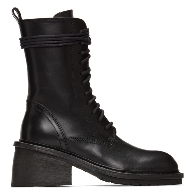 Ann Demeulemeester Bottes militaires noires Chunky-Heel