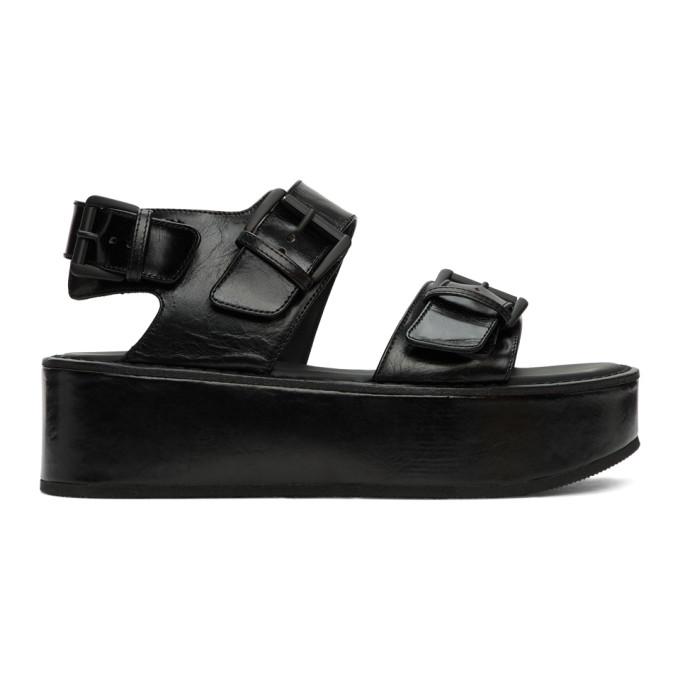 Buy Ann Demeulemeester Black Double-Strap Vernice Sandals online