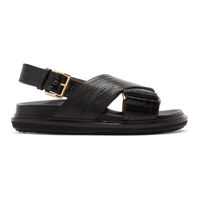 Buy Marni Black Snake Fussbett Sandals online