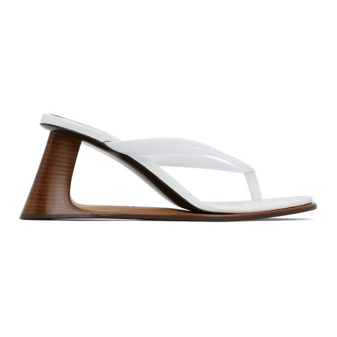 Buy Marni White Open Heeled Thong Sandals online