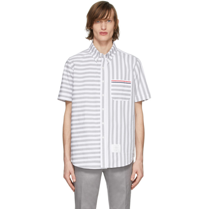 Thom Browne Chemise rayee grise et blanche University