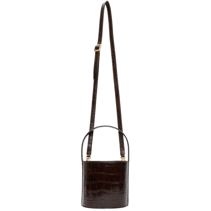 Staud Brown Croc Bissett Bag