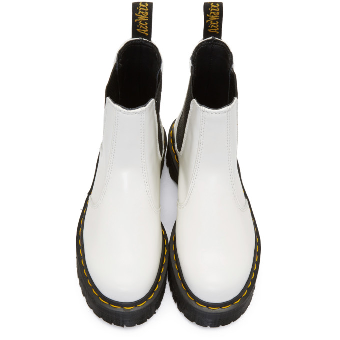 Dr. Martens 2976 Platform Leather Chelsea Boots In White ...