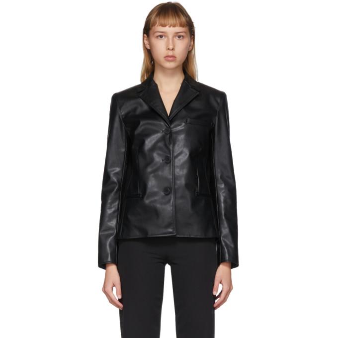 Commission Commission SSENSE Exclusive Black Faux-Leather Cabin Jacket