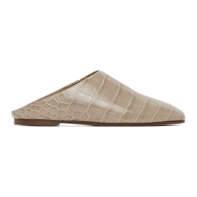 Emme Parsons Flaneurs a enfiler embosses facon croco taupe Glider