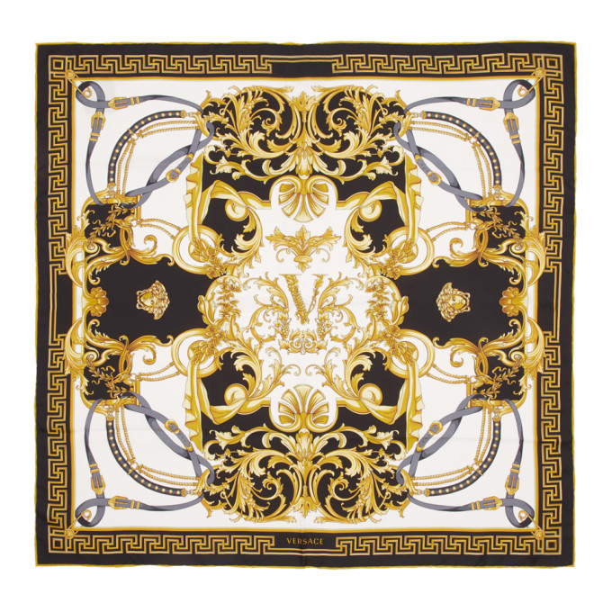 Versace Foulard en soie noir Barocco