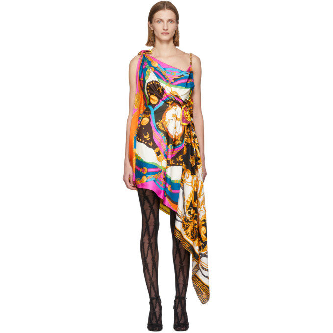 Versace Multicolor Mixed Print Draped Asymmetric Dress In Pink