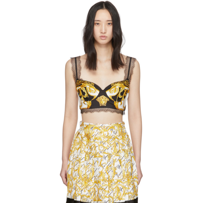 Versace Lace-trimmed Printed Silk-twill Bustier Top In Black