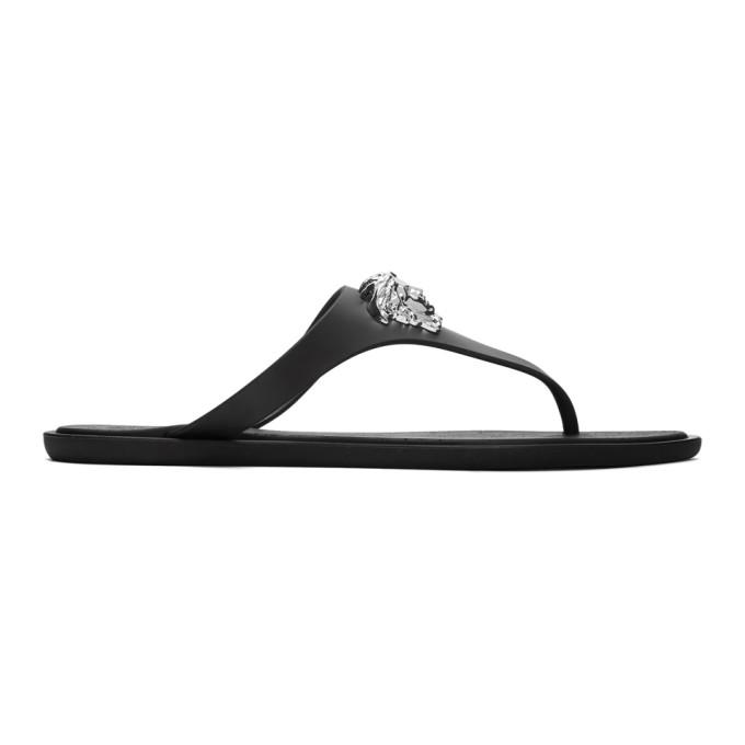 Buy Versace Black Medusa Palazzo Thong Sandals online