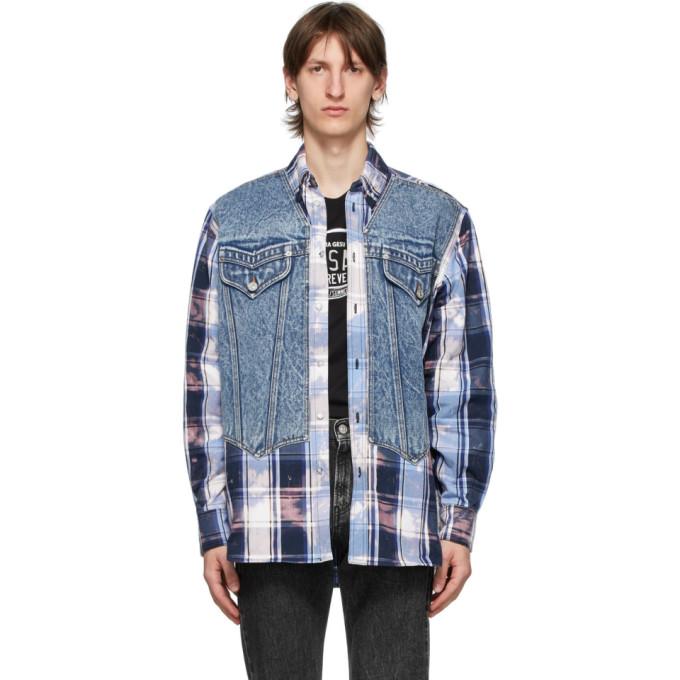 Versace ブルー タータン デニム ベスト シャツ