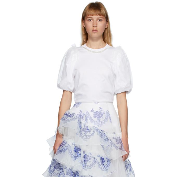 Simone Rocha T-shirt blanc Inverted Puff Sleeve Pearl