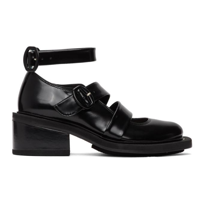 Simone Rocha Chaussures a talons hauts en cuir noires Open Brogue