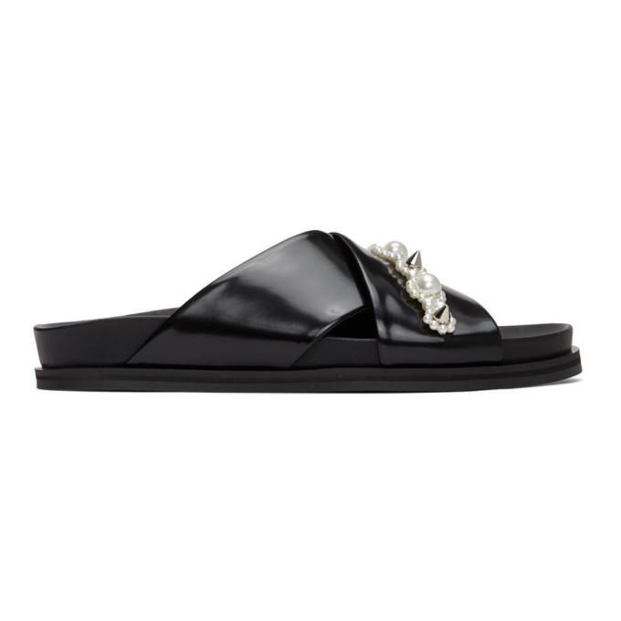 Buy Simone Rocha Black Leather Beading Sandals online