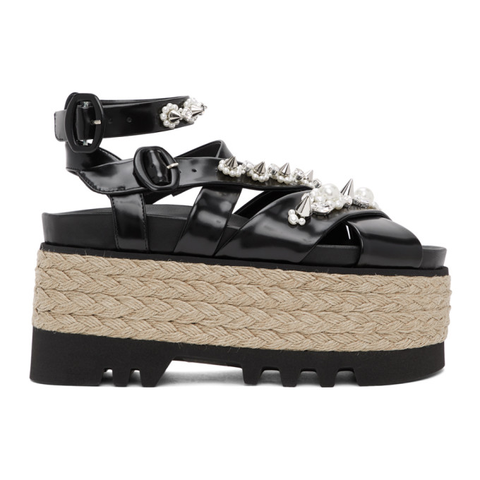 Simone Rocha SIMONE ROCHA BLACK LEATHER PEARL PLATFORM SANDALS