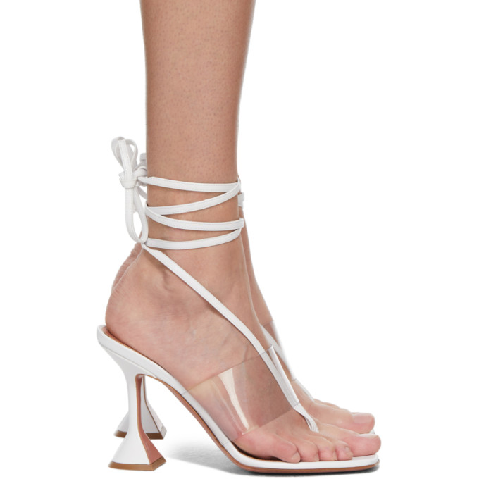 Amina Muaddi White Zula 95 Wrap Leather Sandals