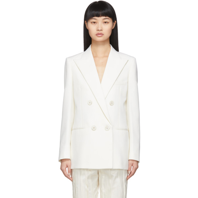 Saint Laurent Double-breasted Virgin-wool Jacket In 9601 White