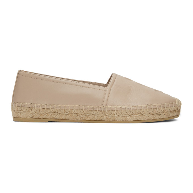 Saint Laurent Logo-embossed Leather Espadrilles In 9935 Poudre