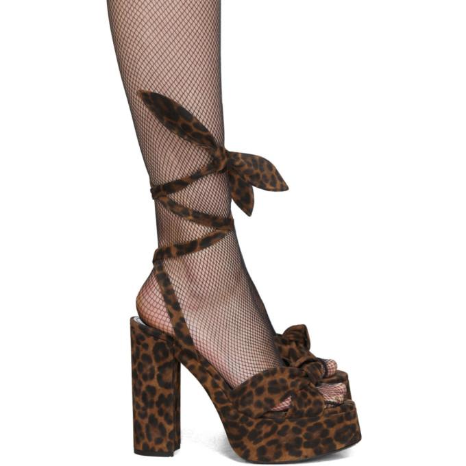 Saint Laurent Tan Leopard Bianca 85 Heeled Sandals