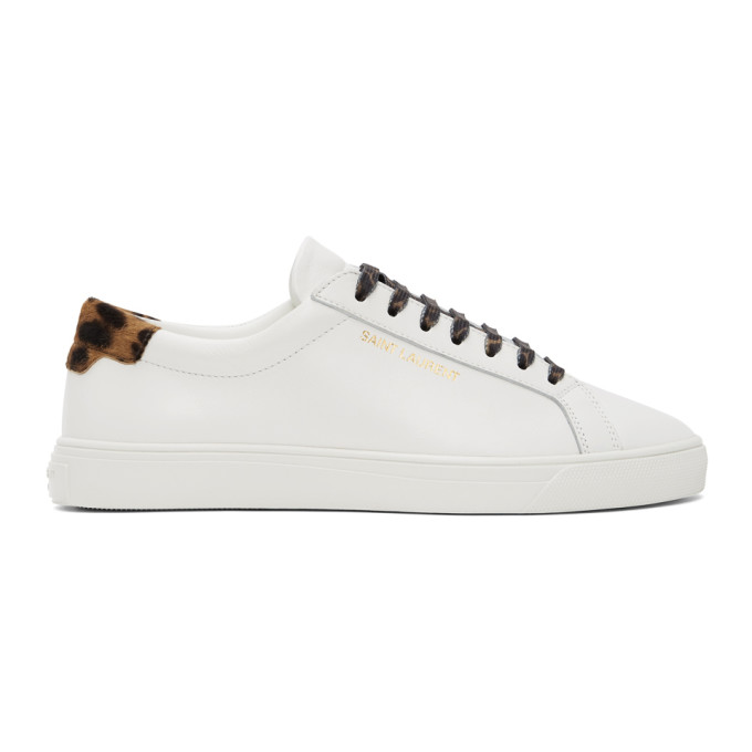 Saint Laurent Andy Sneakers In Smooth Leather And Leopard Printed Pony Effect Leather In White