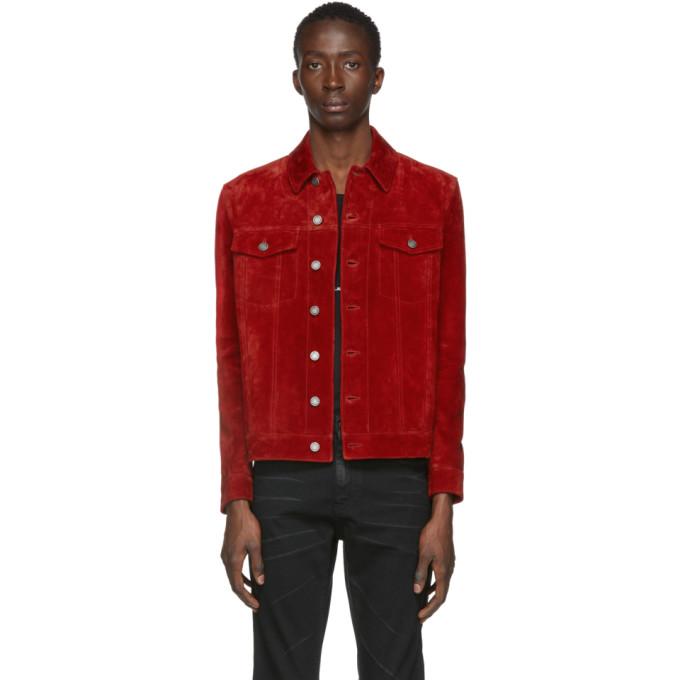 Saint Laurent Saint Laurent Red Suede Classic Jacket