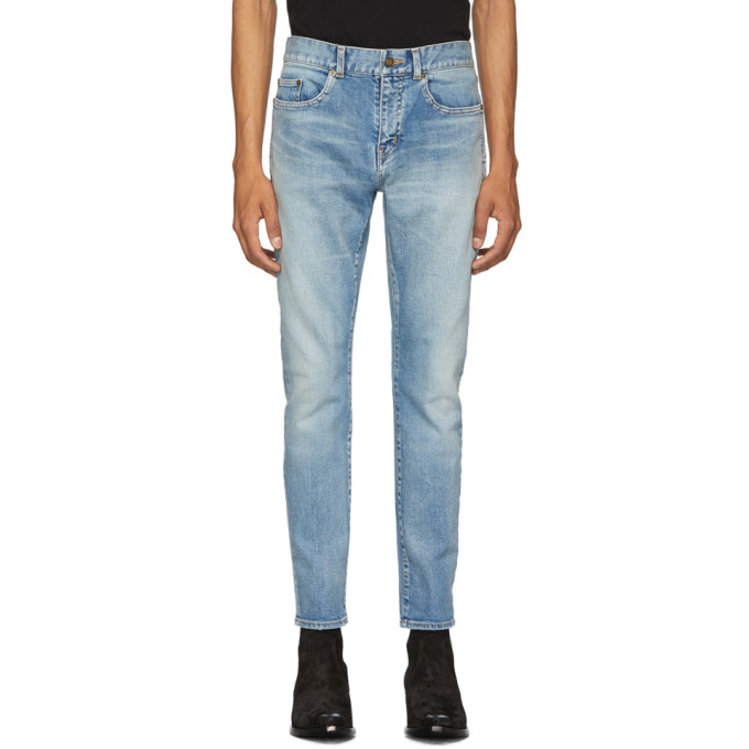 Saint Laurent 蓝色紧身牛仔裤