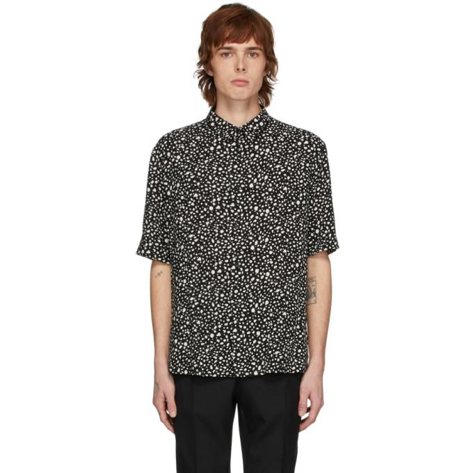 Saint Laurent S/s Leopard Print Viscose Shirt In 1095 Noircr
